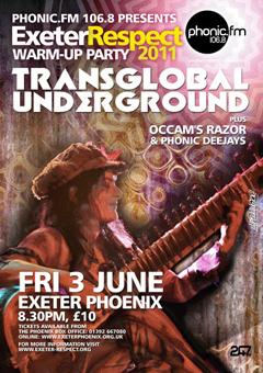 Fri 3 June Transglobal Underground, Exeter Respect warm-up